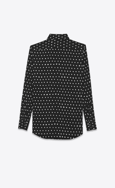 SAINT LAURENT Classic Shirts Woman PARIS Collar Shirt in Black and White Lipstick Printed Twill Viscose b_V4