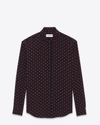 SAINT LAURENT Classic Shirts D Classic Shirt in Black and Red Micro Heart and Lightening Bolt Printed Silk Crêpe f