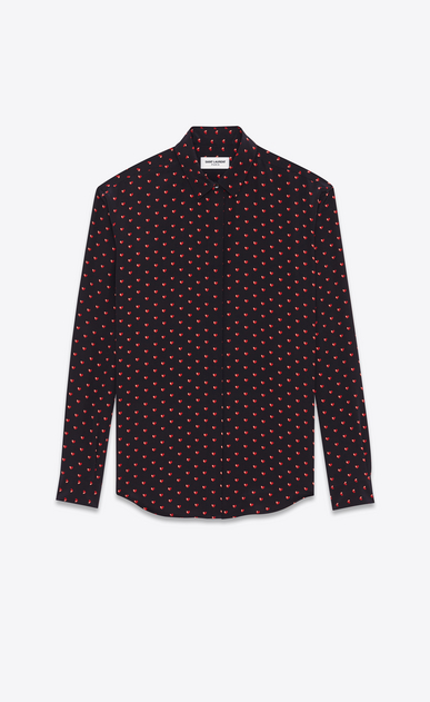 SAINT LAURENT Classic Shirts D Classic Shirt in Black and Red Micro Heart and Lightening Bolt Printed Silk Crêpe a_V4