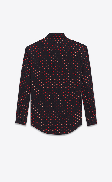 SAINT LAURENT Classic Shirts D Classic Shirt in Black and Red Micro Heart and Lightening Bolt Printed Silk Crêpe b_V4