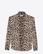 SAINT LAURENT Classic Shirts D Classic Shirt in Beige and Grey Leopard Printed Silk Crêpe f
