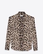 SAINT LAURENT Chemises classiques D Chemise en crêpe de soie à imprimé léopard beige et gris f