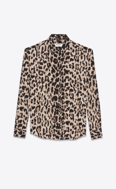 SAINT LAURENT Classic Shirts Woman Classic Shirt in Beige and Grey Leopard Printed Silk Crêpe a_V4