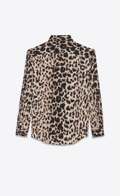 SAINT LAURENT Classic Shirts Woman Classic Shirt in Beige and Grey Leopard Printed Silk Crêpe b_V4