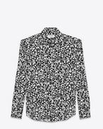SAINT LAURENT Classic Shirts D Classic Shirt in Black and White Petal Heart Printed Silk Crêpe f