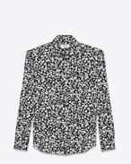 SAINT LAURENT Chemises classiques D Chemise en crêpe de soie à imprimé cœur en pétales noir et blanc f
