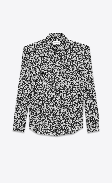 SAINT LAURENT Classic Shirts D Classic Shirt in Black and White Petal Heart Printed Silk Crêpe a_V4