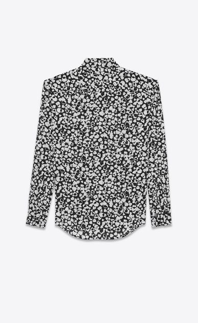 SAINT LAURENT Classic Shirts D Classic Shirt in Black and White Petal Heart Printed Silk Crêpe b_V4