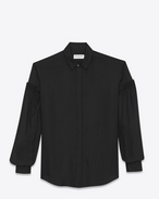 Drop Shoulder Shirt in Black Twill Viscose