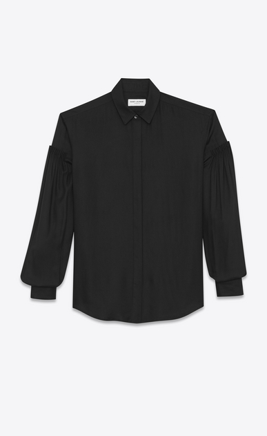 SAINT LAURENT Classic Shirts Woman Drop Shoulder Shirt in Black Twill Viscose a_V4