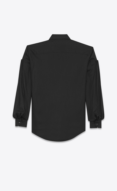 SAINT LAURENT Classic Shirts D Drop Shoulder Shirt in Black Twill Viscose b_V4
