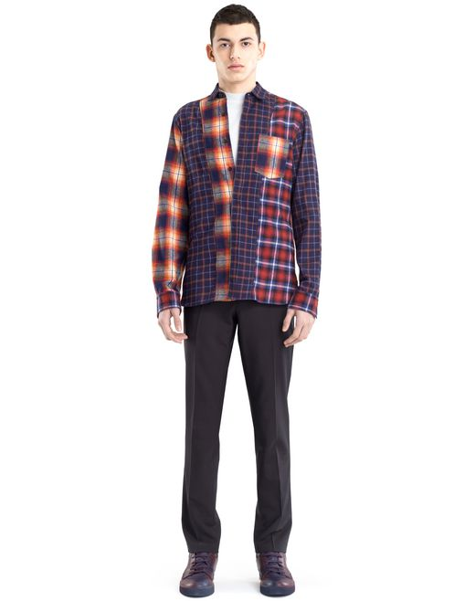 lanvin checkered patchwork shirt men