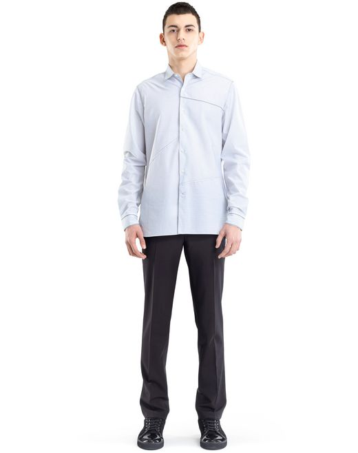 lanvin pinstripe patchwork shirt men