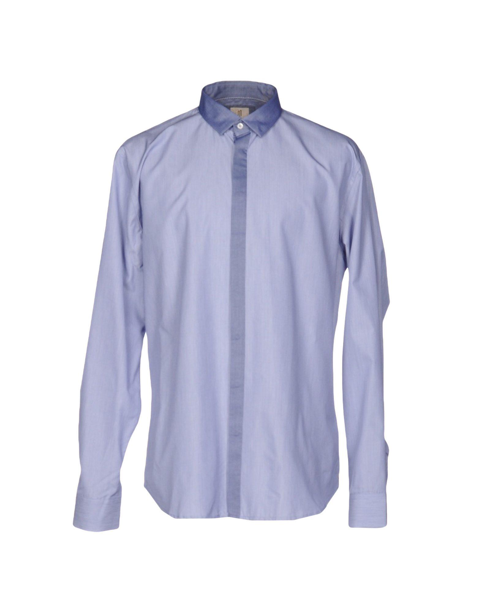 《送料無料》Q1 メンズ シャツ ダークブルー 40 コットン 100%