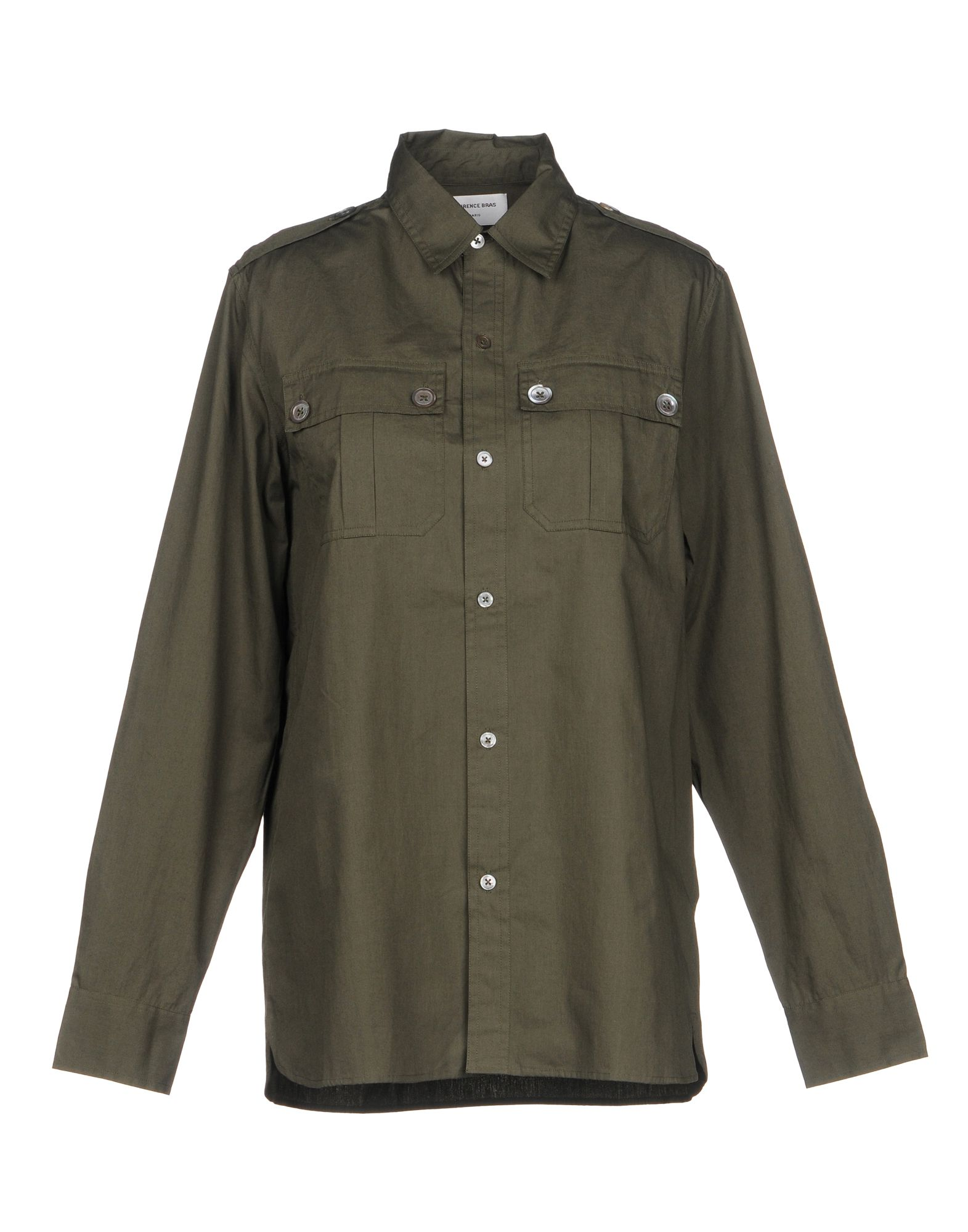 LAURENCE BRAS Solid Color Shirts & Blouses in Military Green