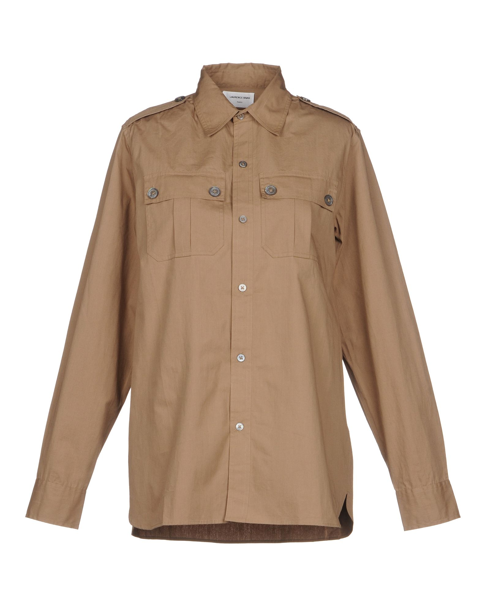 LAURENCE BRAS Solid Color Shirts & Blouses in Khaki