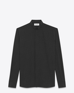SAINT LAURENT Classic Shirts U REPLIÉ Collar Shirt in Black and Ivory Polka Dot Printed Silk f