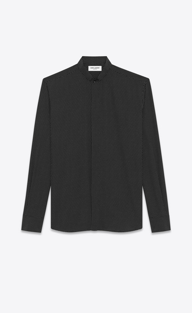SAINT LAURENT Classic Shirts U REPLIÉ Collar Shirt in Black and Ivory Polka Dot Printed Silk a_V4