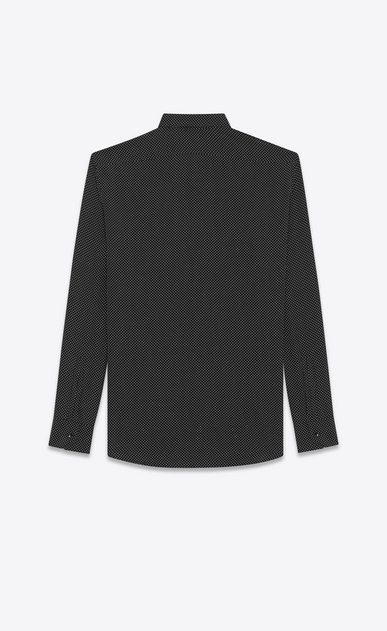 SAINT LAURENT Classic Shirts U REPLIÉ Collar Shirt in Black and Ivory Polka Dot Printed Silk b_V4