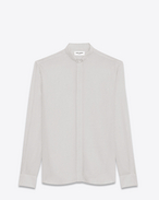 REPLIÉ Collar Shirt in Ivory and Black Polka Dot Printed Silk