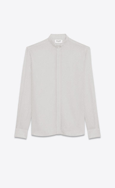 SAINT LAURENT Classic Shirts U REPLIÉ Collar Shirt in Ivory and Black Polka Dot Printed Silk a_V4