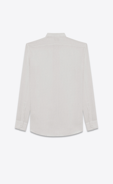 SAINT LAURENT Classic Shirts U REPLIÉ Collar Shirt in Ivory and Black Polka Dot Printed Silk b_V4