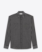 SAINT LAURENT Casual Shirts U YVES Collar Patch Pocket Shirt in Black and White Cotton Voile Plaid f