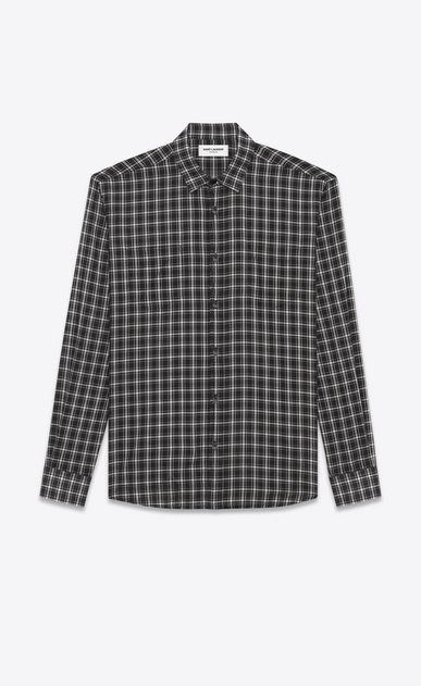 SAINT LAURENT Casual Shirts Man YVES Collar Patch Pocket Shirt in Black and White Cotton Voile Plaid a_V4