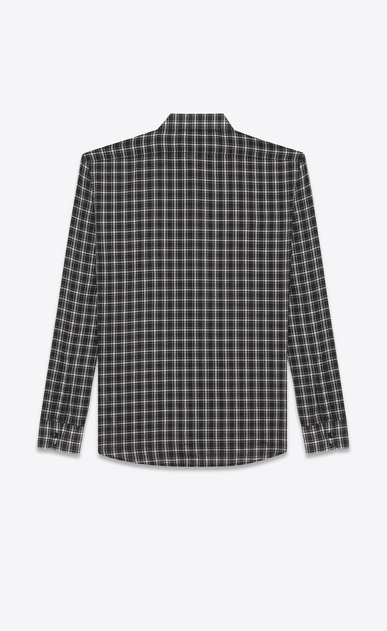 SAINT LAURENT Casual Shirts U YVES Collar Patch Pocket Shirt in Black and White Cotton Voile Plaid b_V4