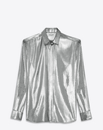 SAINT LAURENT Classic Shirts U YVES Collar Shirt in Silver Velvet Lamé f