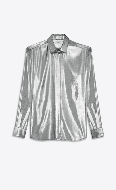 SAINT LAURENT Casual Shirts U YVES Collar Shirt in Silver Velvet Lamé a_V4