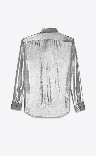 SAINT LAURENT Casual Shirts U YVES Collar Shirt in Silver Velvet Lamé b_V4