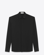 SAINT LAURENT Classic Shirts U YVES Collar Shirt in Black Viscose and Silk Twill f