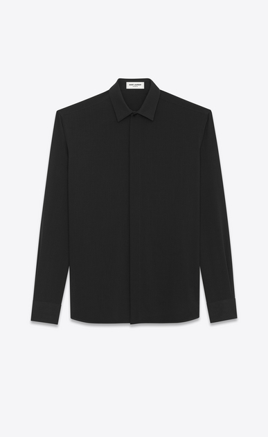 SAINT LAURENT Classic Shirts Man YVES Collar Shirt in Black Viscose and Silk Twill a_V4