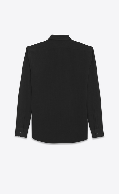 SAINT LAURENT Classic Shirts U YVES Collar Shirt in Black Viscose and Silk Twill b_V4