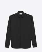 SAINT LAURENT Classic Shirts U YVES Collar Shirt in Black Cotton Poplin f