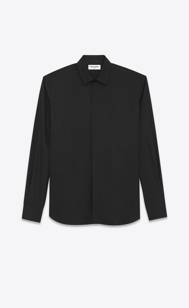 SAINT LAURENT Classic Shirts Man YVES Collar Shirt in Black Cotton Poplin a_V4