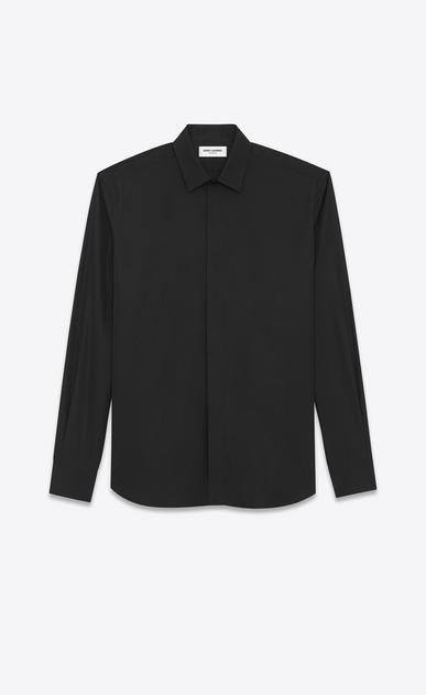 SAINT LAURENT Classic Shirts U YVES Collar Shirt in Black Cotton Poplin v4