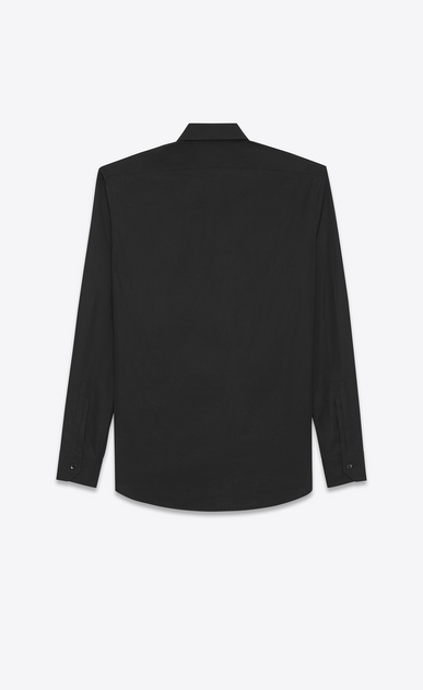 SAINT LAURENT Classic Shirts Man YVES Collar Shirt in Black Cotton Poplin b_V4