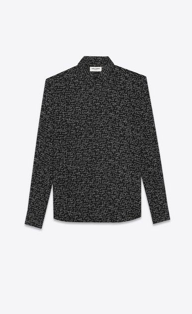 "SAINT LAURENT Classic Shirts U YVES Collar Shirt in Black and White ""JE T'AIME"" Printed Wool Etamine a_V4"