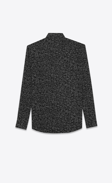"SAINT LAURENT Classic Shirts U YVES Collar Shirt in Black and White ""JE T'AIME"" Printed Wool Etamine b_V4"