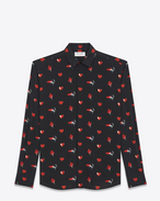 SAINT LAURENT Camicie Casual U Camicia con collo YVES in crêpe di seta a stampa Flame, Heart and Lightening Bolt nera e rossa f