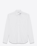 YVES Collar Embroidered Shirt in White Washed Cotton Poplin
