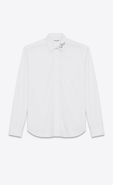 SAINT LAURENT Classic Shirts U YVES Collar Embroidered Shirt in White Washed Cotton Poplin a_V4