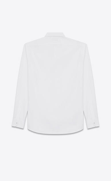 SAINT LAURENT Classic Shirts U YVES Collar Embroidered Shirt in White Washed Cotton Poplin b_V4