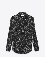 SAINT LAURENT Western Shirts U Classic Western Shirt in Black Stonewash Star Printed Cotton f