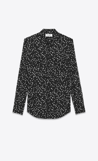 SAINT LAURENT Western Shirts U Classic Western Shirt in Black Stonewash Star Printed Cotton a_V4