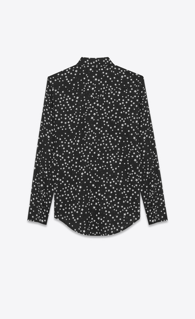 SAINT LAURENT Western Shirts U Classic Western Shirt in Black Stonewash Star Printed Cotton b_V4