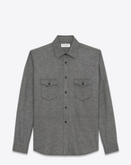 SAINT LAURENT Western Shirts U Oversized Shirt in Grey Flannel f