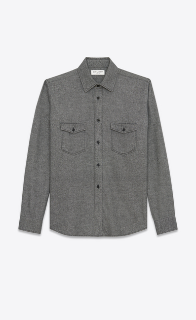 SAINT LAURENT Denim shirts Man Oversized Shirt in Grey Flannel a_V4